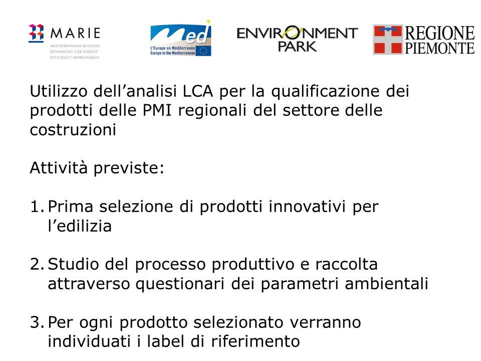 Utilizzo dell'analisi LCA per la qualificazione dei prodotti delle PMI regionali del settore delle costruzioni