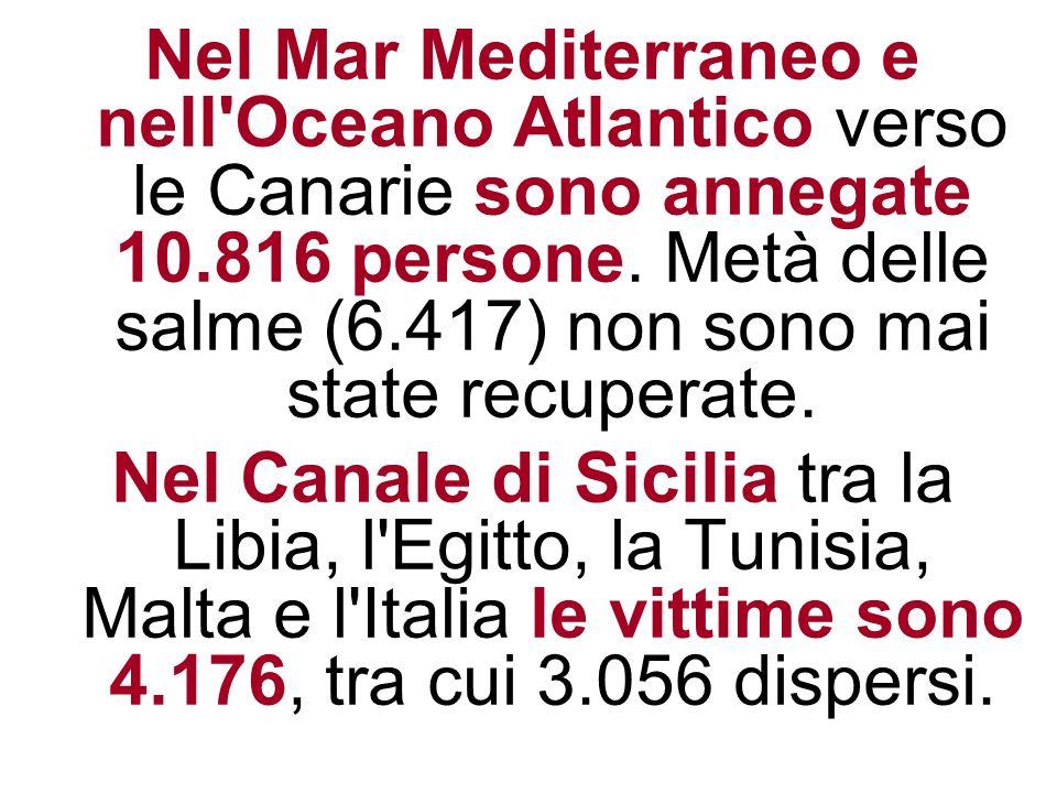 Nel Mar Mediterraneo e nell Oceano Atlantico verso le Canarie sono annegate 10.816 persone. Metà delle salme (6.417) non sono mai state recuperate.