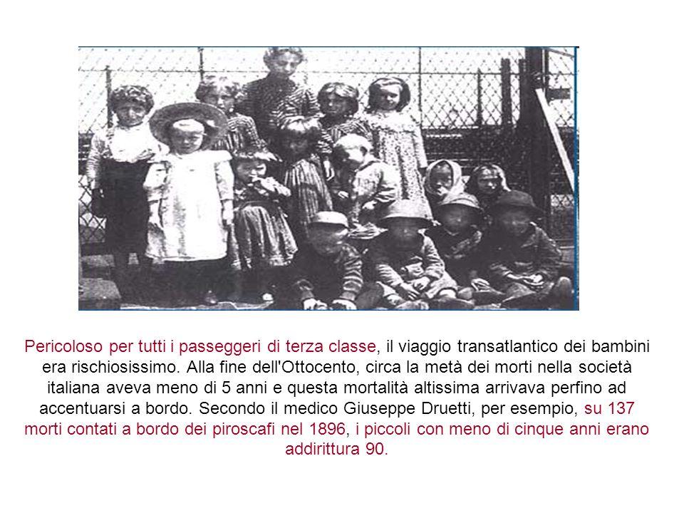 Pericoloso per tutti i passeggeri di terza classe, il viaggio transatlantico dei bambini era rischiosissimo.