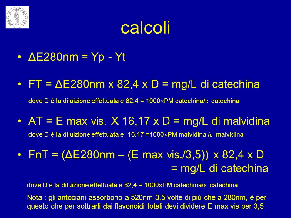 calcoli ΔE280nm = Yp - Yt FT = ΔE280nm x 82,4 x D = mg/L di catechina