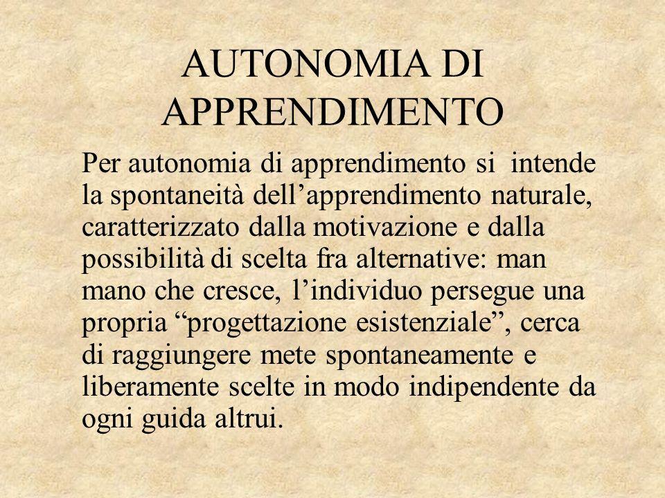 AUTONOMIA DI APPRENDIMENTO