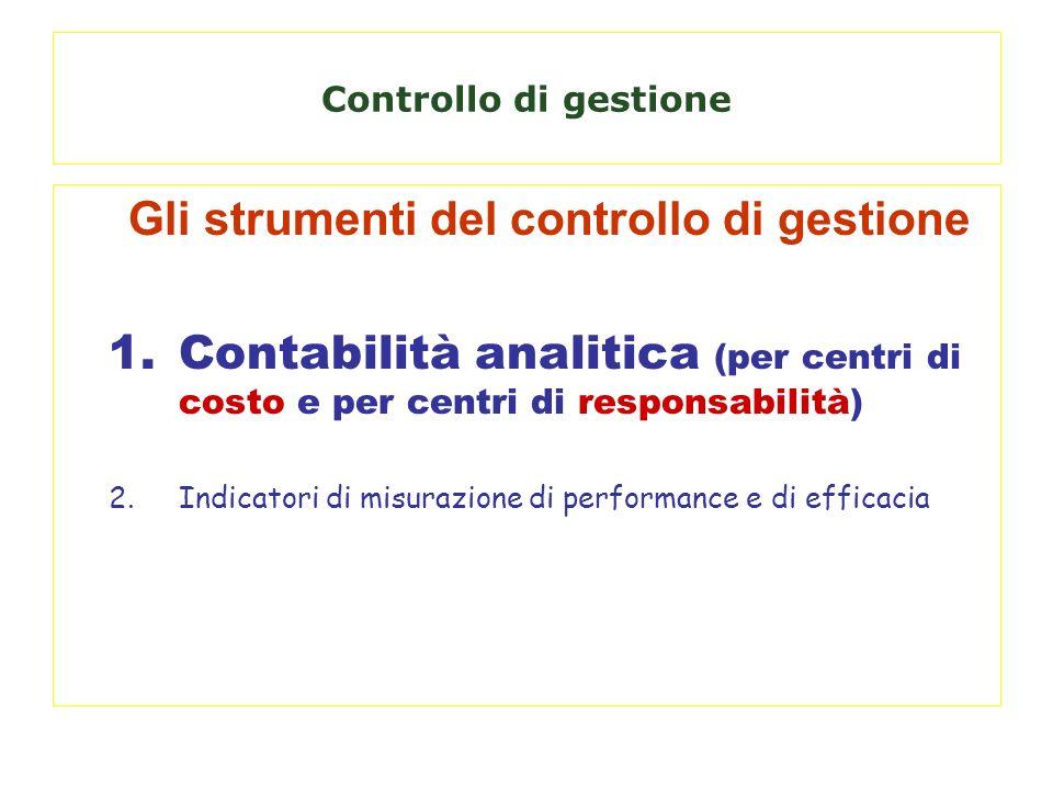 Gli strumenti del controllo di gestione