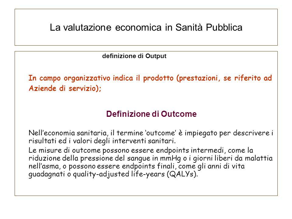 La valutazione economica in Sanità Pubblica