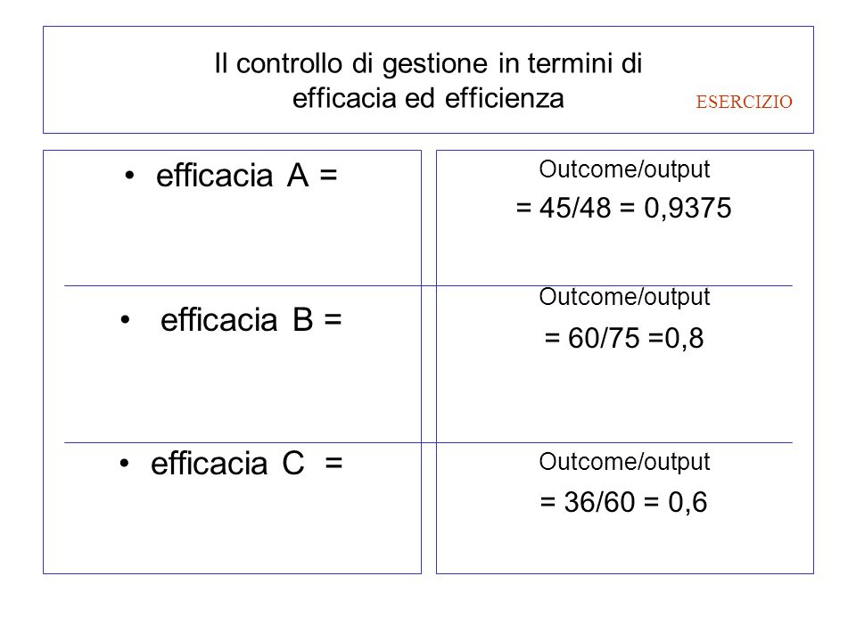 Il controllo di gestione in termini di efficacia ed efficienza