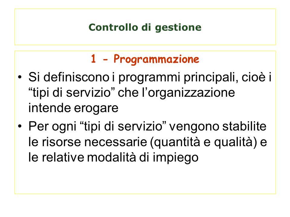 Controllo di gestione1 - Programmazione. Si definiscono i programmi principali, cioè i tipi di servizio che l'organizzazione intende erogare.