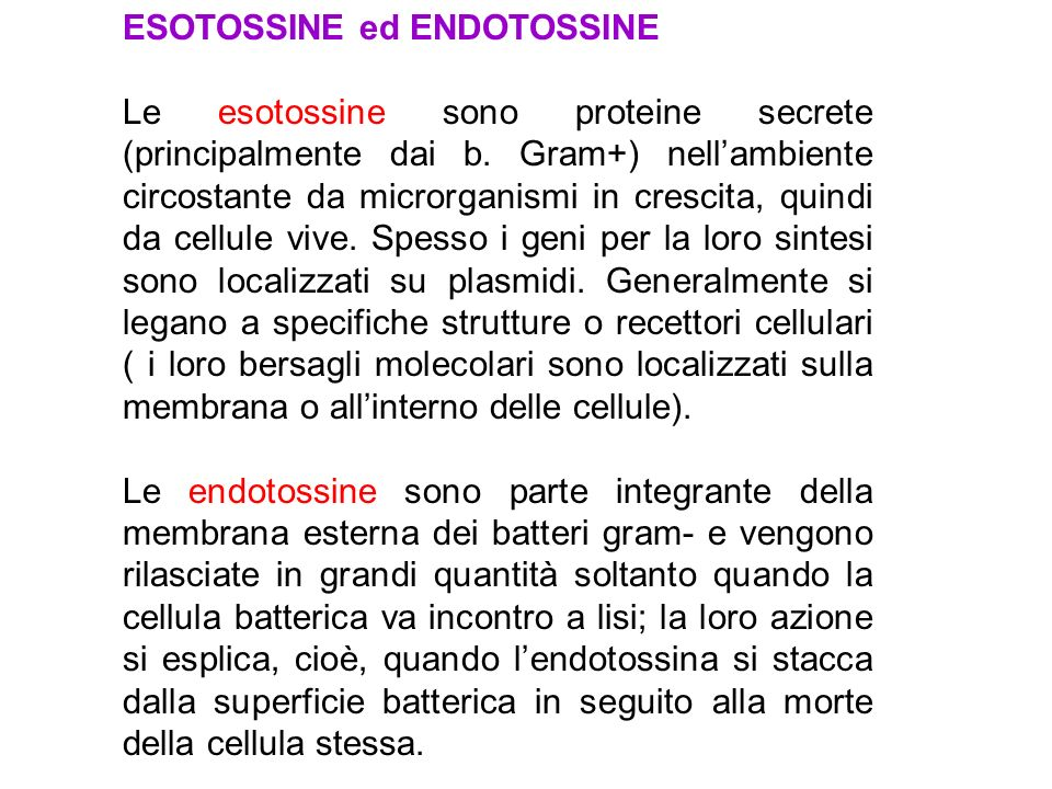 ESOTOSSINE ed ENDOTOSSINE
