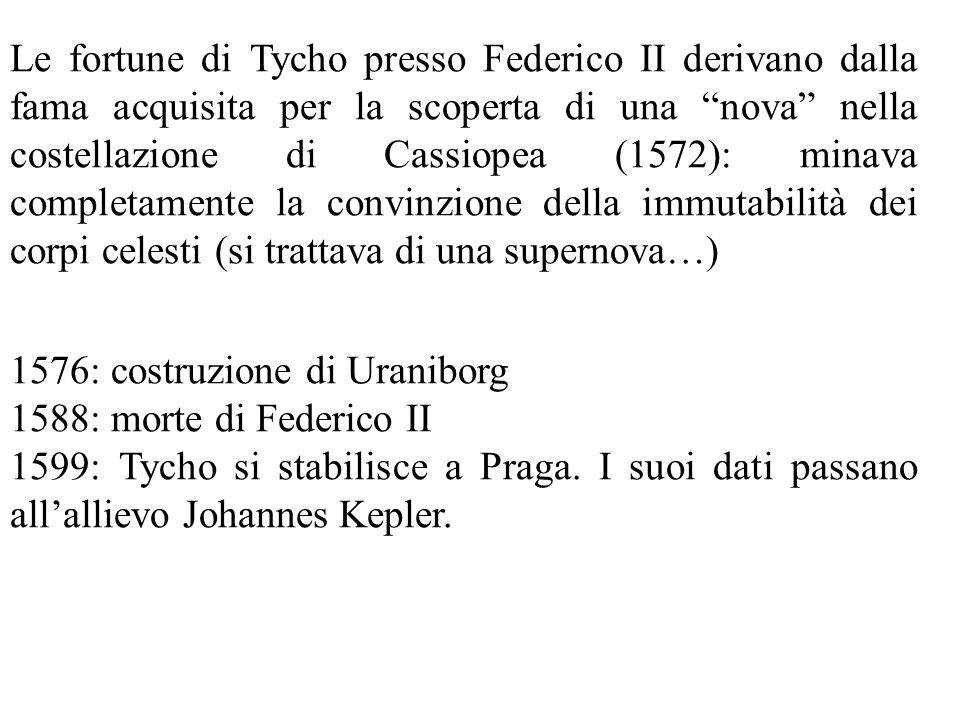 Le fortune di Tycho presso Federico II derivano dalla fama acquisita per la scoperta di una nova nella costellazione di Cassiopea (1572): minava completamente la convinzione della immutabilità dei corpi celesti (si trattava di una supernova…)