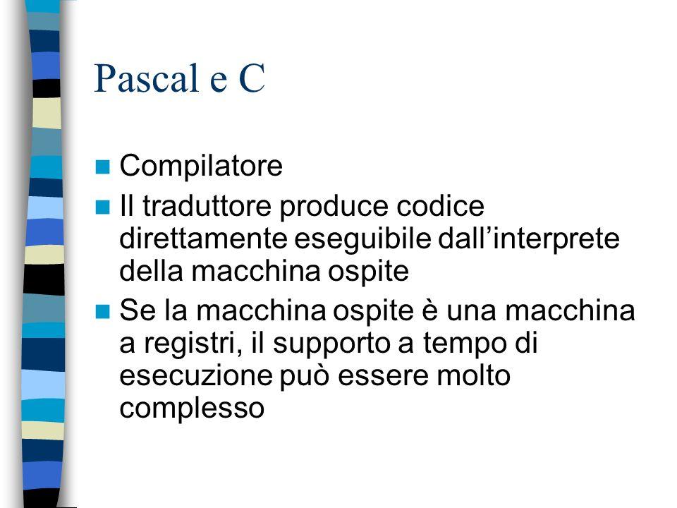 Pascal e C Compilatore. Il traduttore produce codice direttamente eseguibile dall'interprete della macchina ospite.