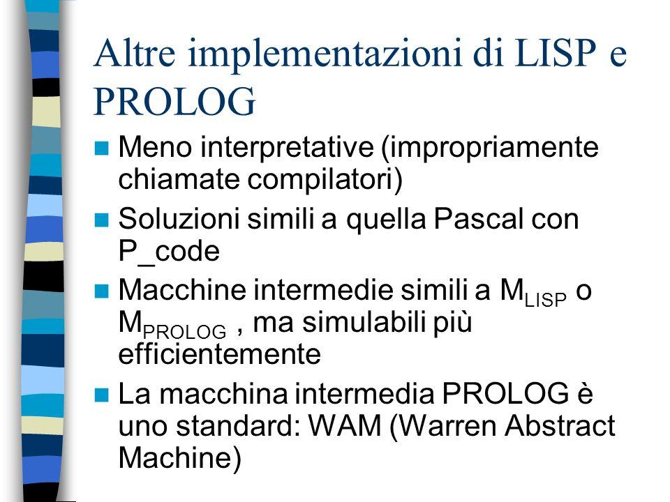 Altre implementazioni di LISP e PROLOG