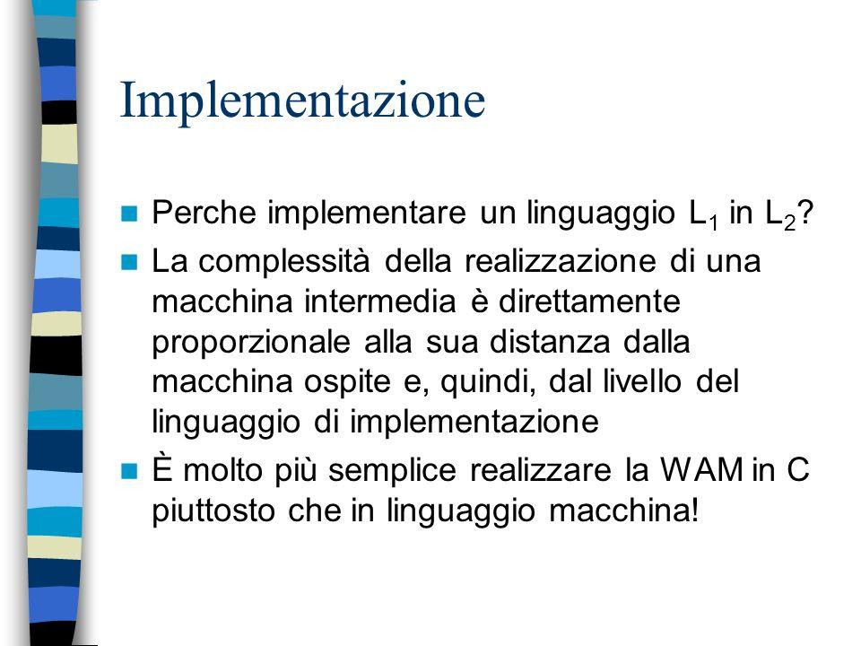 Implementazione Perche implementare un linguaggio L1 in L2