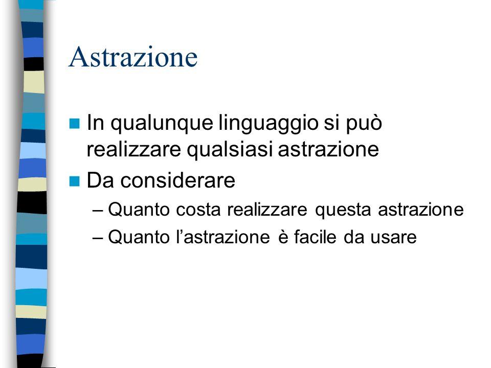 Astrazione In qualunque linguaggio si può realizzare qualsiasi astrazione. Da considerare. Quanto costa realizzare questa astrazione.