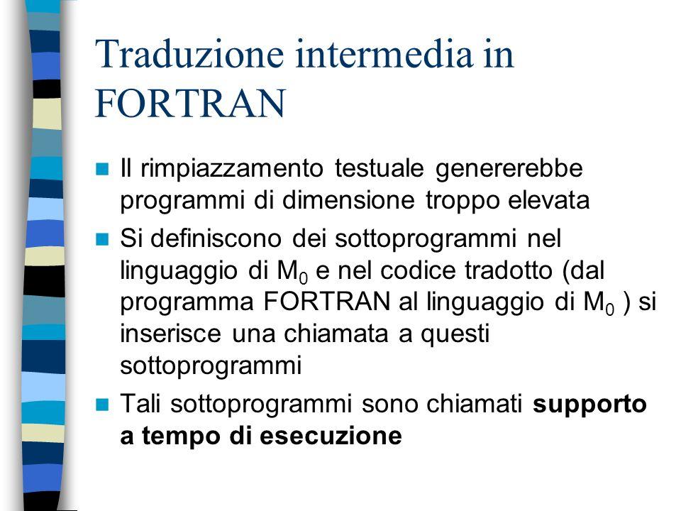Traduzione intermedia in FORTRAN
