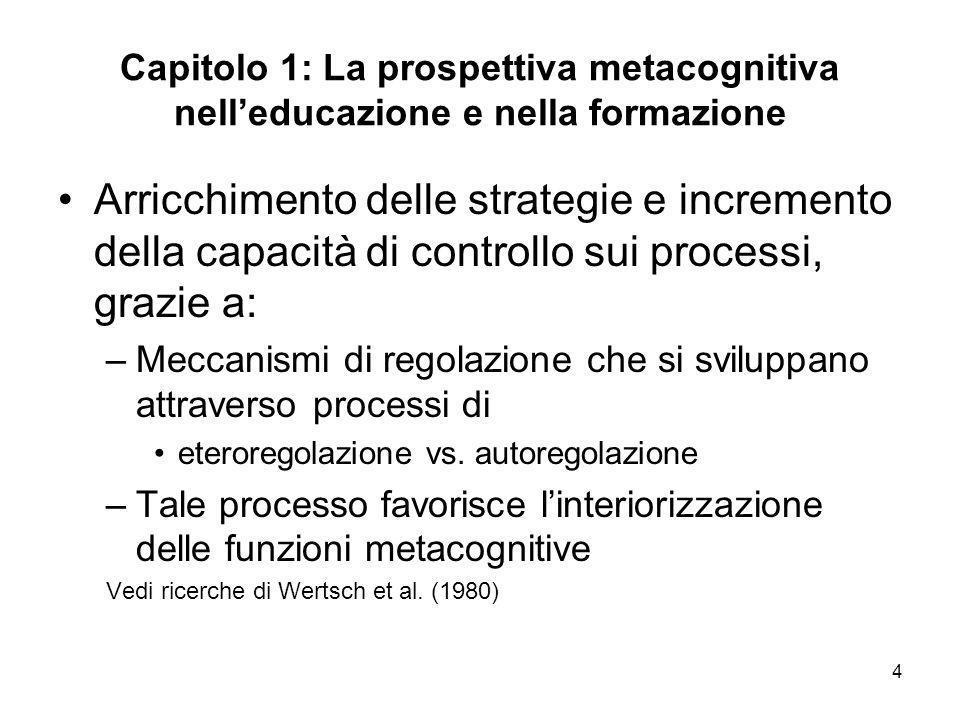 Capitolo 1: La prospettiva metacognitiva nell'educazione e nella formazione
