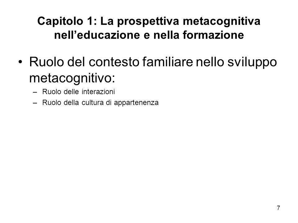 Ruolo del contesto familiare nello sviluppo metacognitivo: