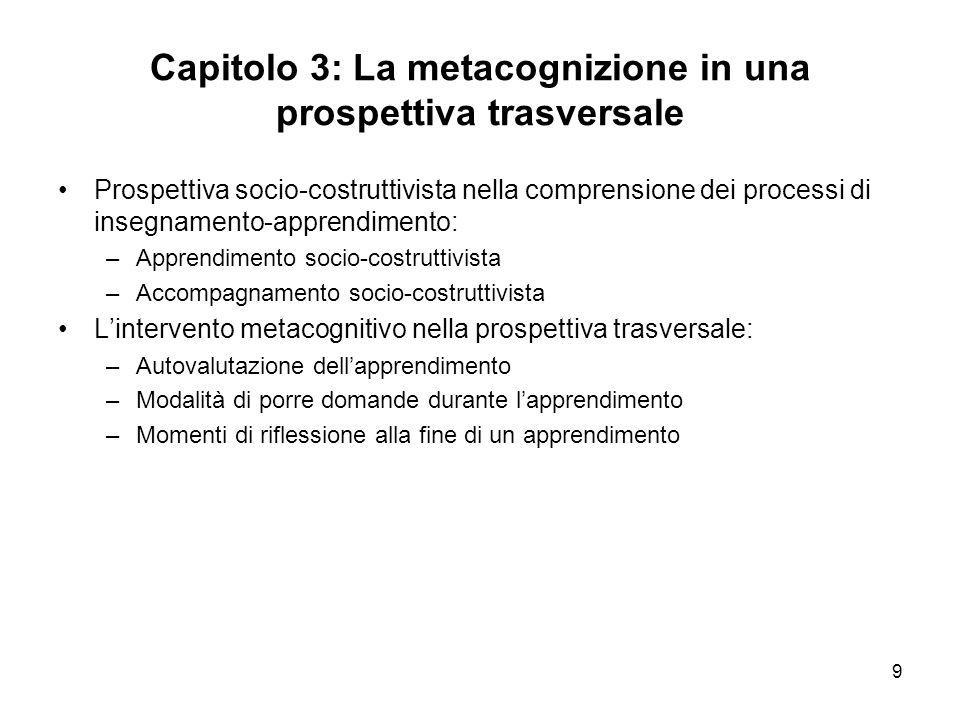 Capitolo 3: La metacognizione in una prospettiva trasversale