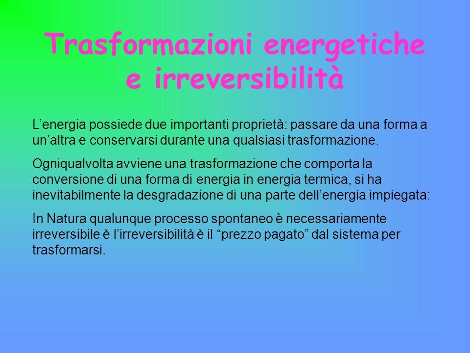 Trasformazioni energetiche e irreversibilità