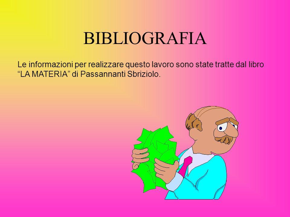 BIBLIOGRAFIA Le informazioni per realizzare questo lavoro sono state tratte dal libro LA MATERIA di Passannanti Sbriziolo.