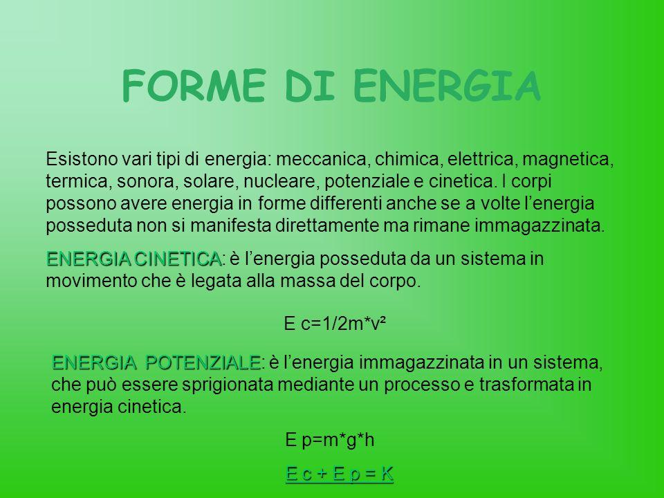 FORME DI ENERGIA E c=1/2m*v²