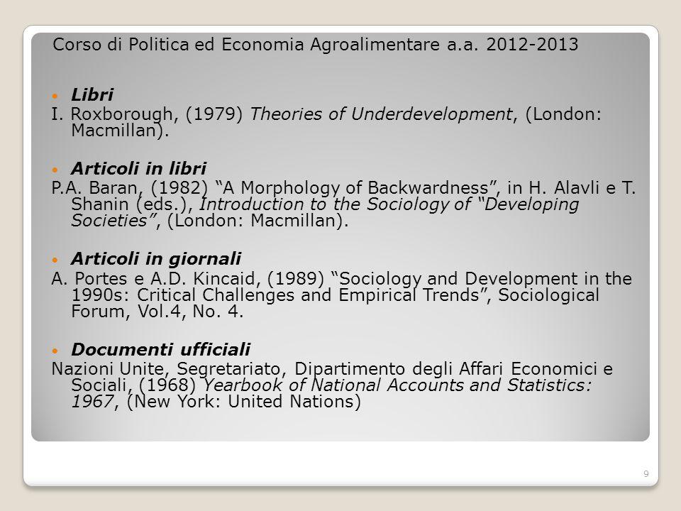 Corso di Politica ed Economia Agroalimentare a.a. 2012-2013