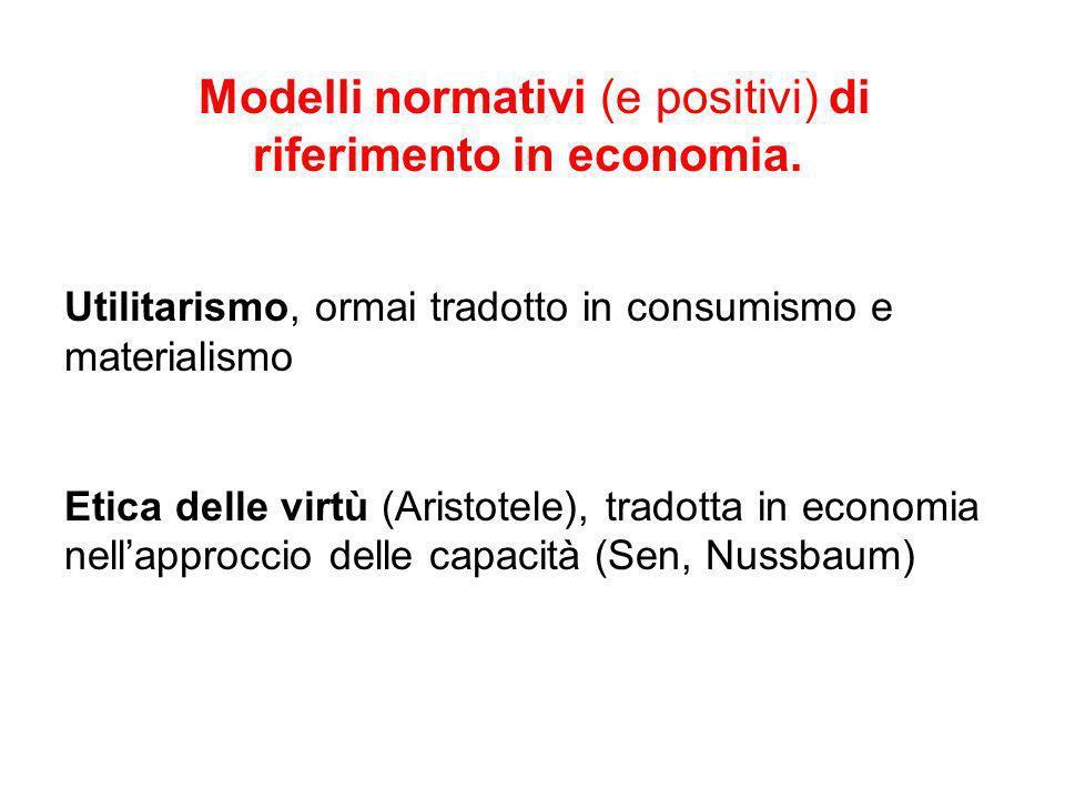 Modelli normativi (e positivi) di riferimento in economia.