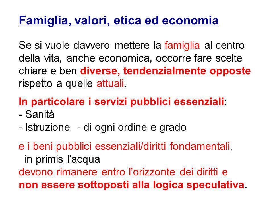 Famiglia, valori, etica ed economia