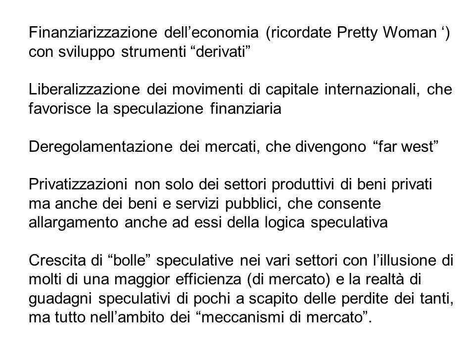 Finanziarizzazione dell'economia (ricordate Pretty Woman ') con sviluppo strumenti derivati