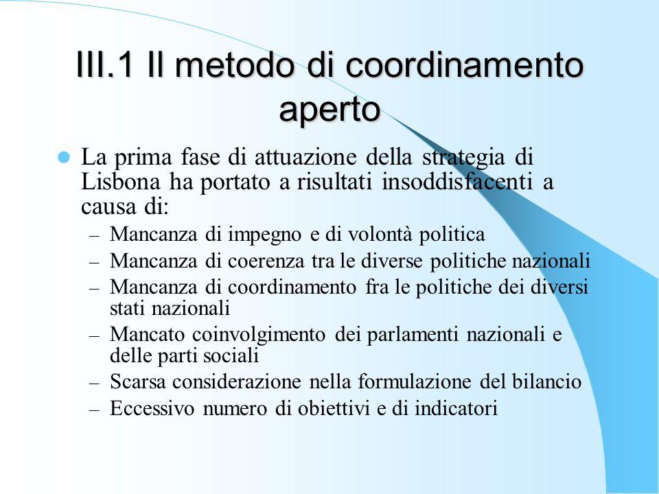 III.1 Il metodo di coordinamento aperto