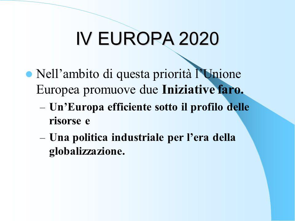 IV EUROPA 2020 Nell'ambito di questa priorità l'Unione Europea promuove due Iniziative faro. Un'Europa efficiente sotto il profilo delle risorse e.