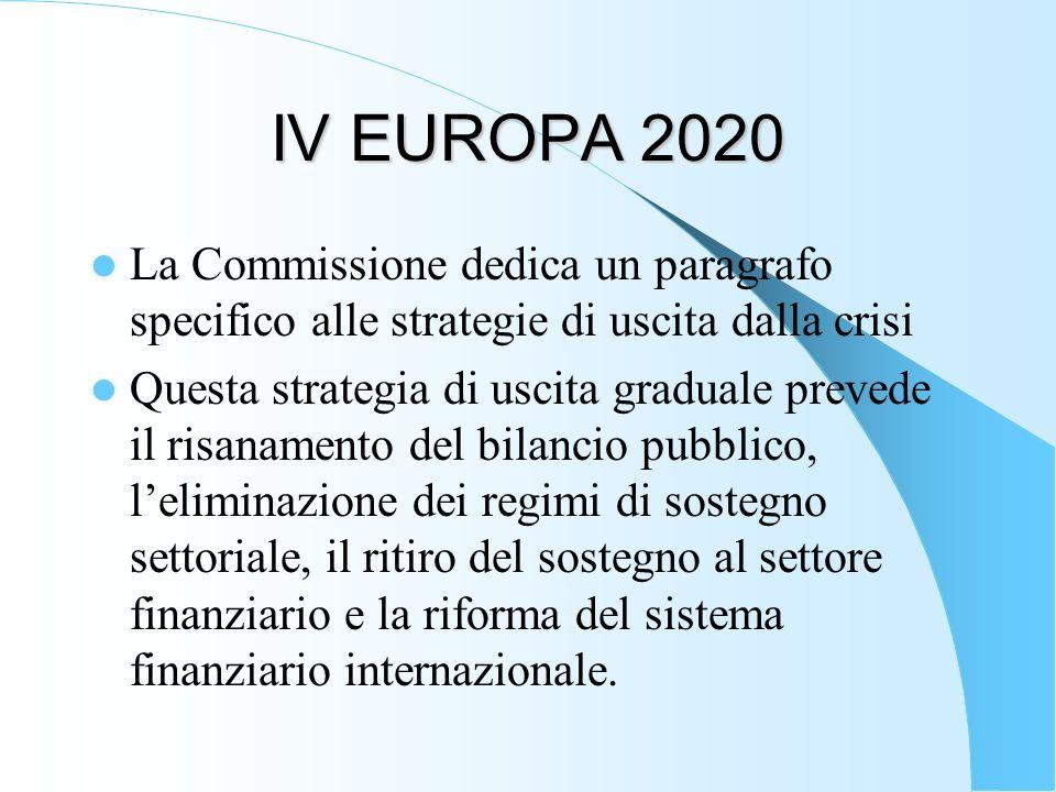 IV EUROPA 2020 La Commissione dedica un paragrafo specifico alle strategie di uscita dalla crisi.