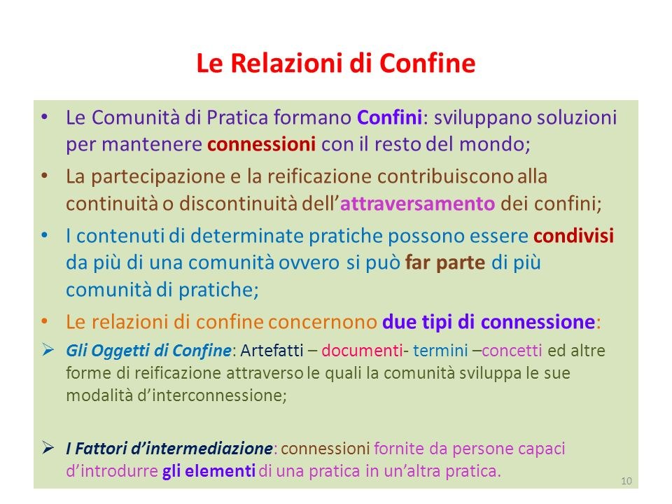 Le Relazioni di Confine