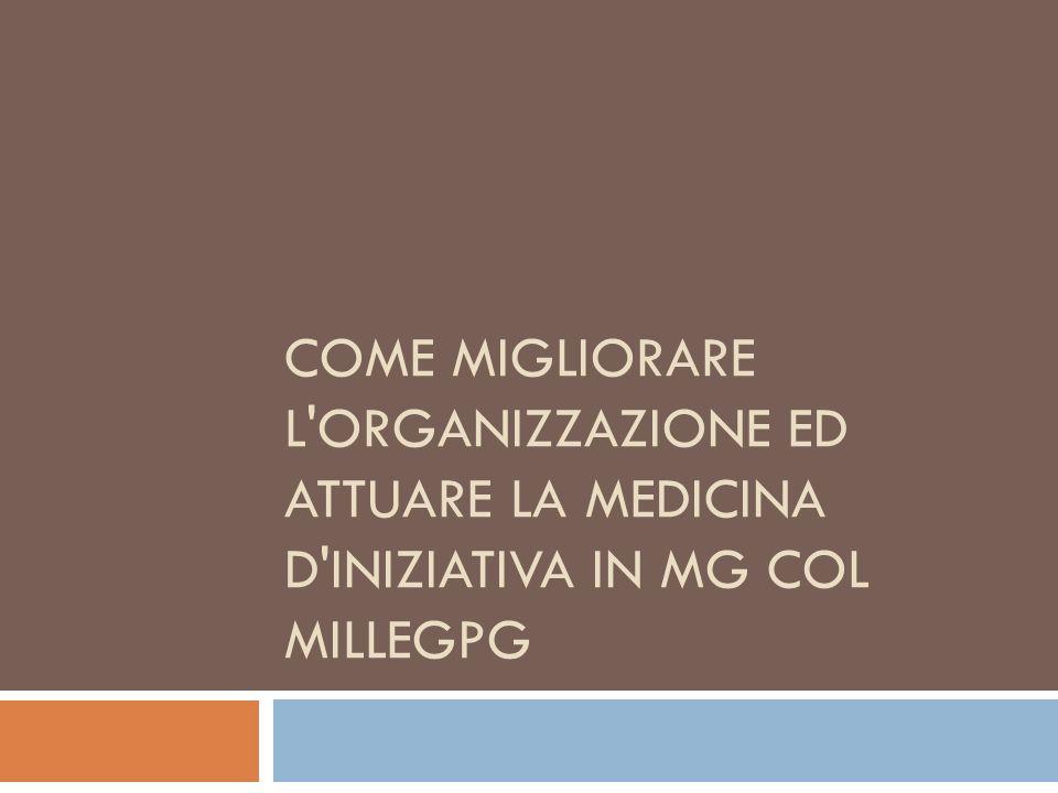 Come migliorare l organizzazione ed attuare la medicina d iniziativa in MG col MilleGPG
