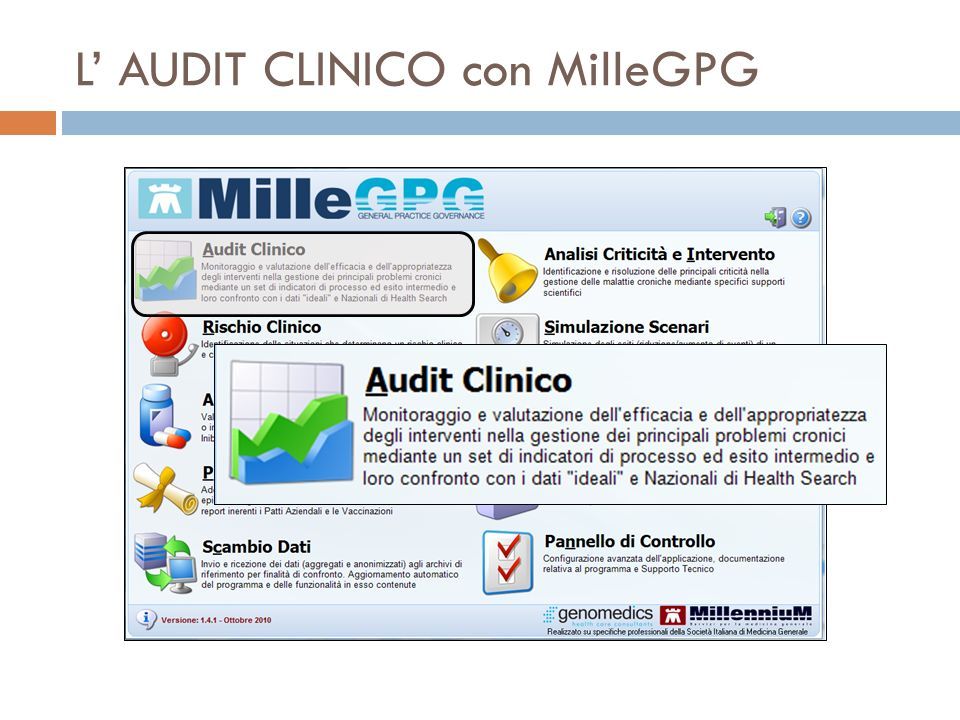 L' AUDIT CLINICO con MilleGPG