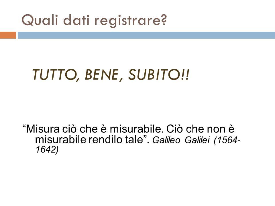 Quali dati registrare TUTTO, BENE, SUBITO!! Misura ciò che è misurabile. Ciò che non è misurabile rendilo tale . Galileo Galilei (1564- 1642)