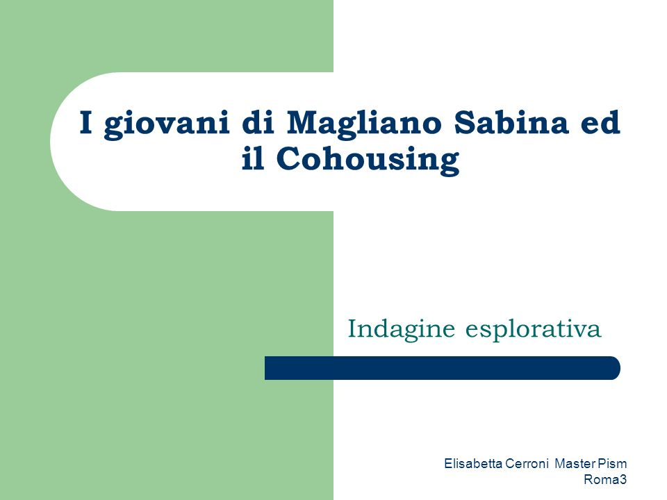 I giovani di Magliano Sabina ed il Cohousing