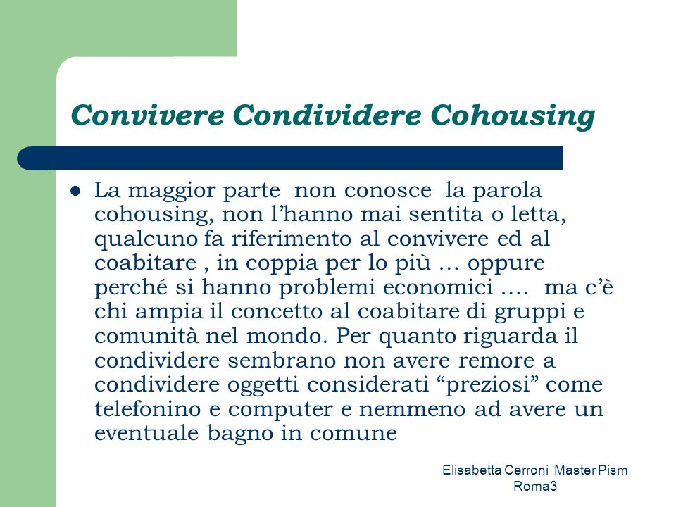 Convivere Condividere Cohousing