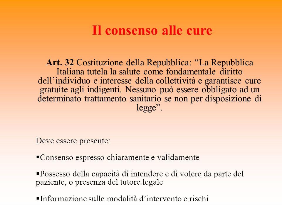 Il consenso alle cure