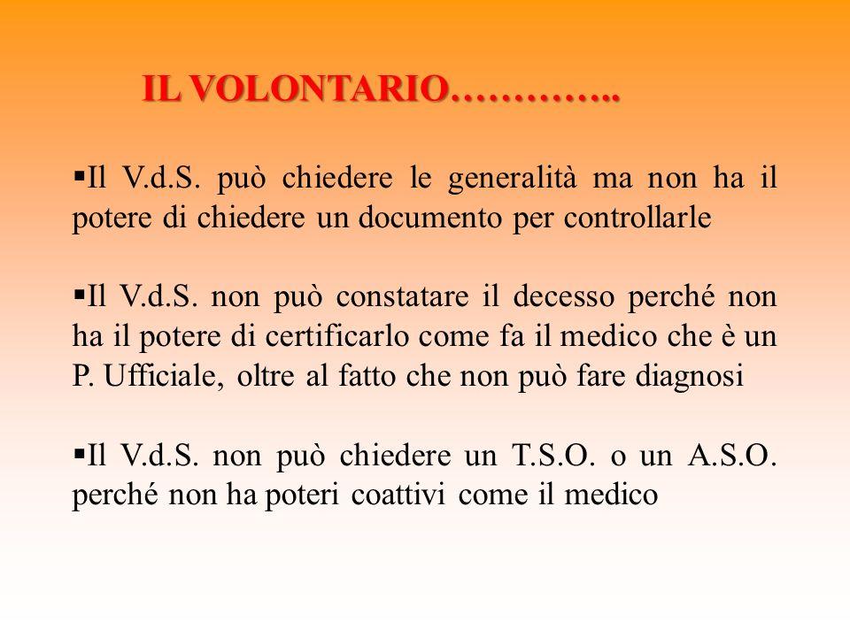IL VOLONTARIO………….. Il V.d.S. può chiedere le generalità ma non ha il potere di chiedere un documento per controllarle.