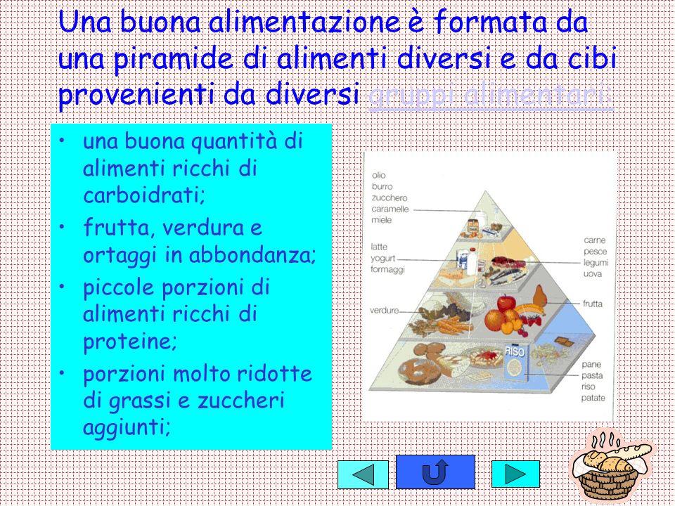 Una buona alimentazione è formata da una piramide di alimenti diversi e da cibi provenienti da diversi gruppi alimentari: