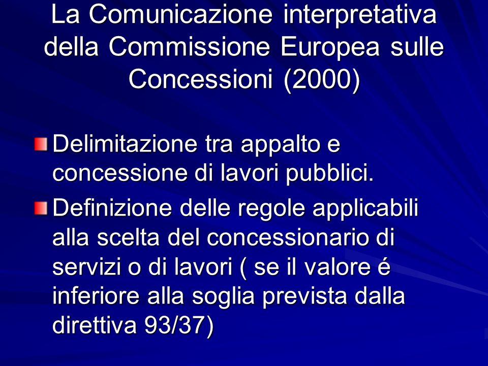 La Comunicazione interpretativa della Commissione Europea sulle Concessioni (2000)