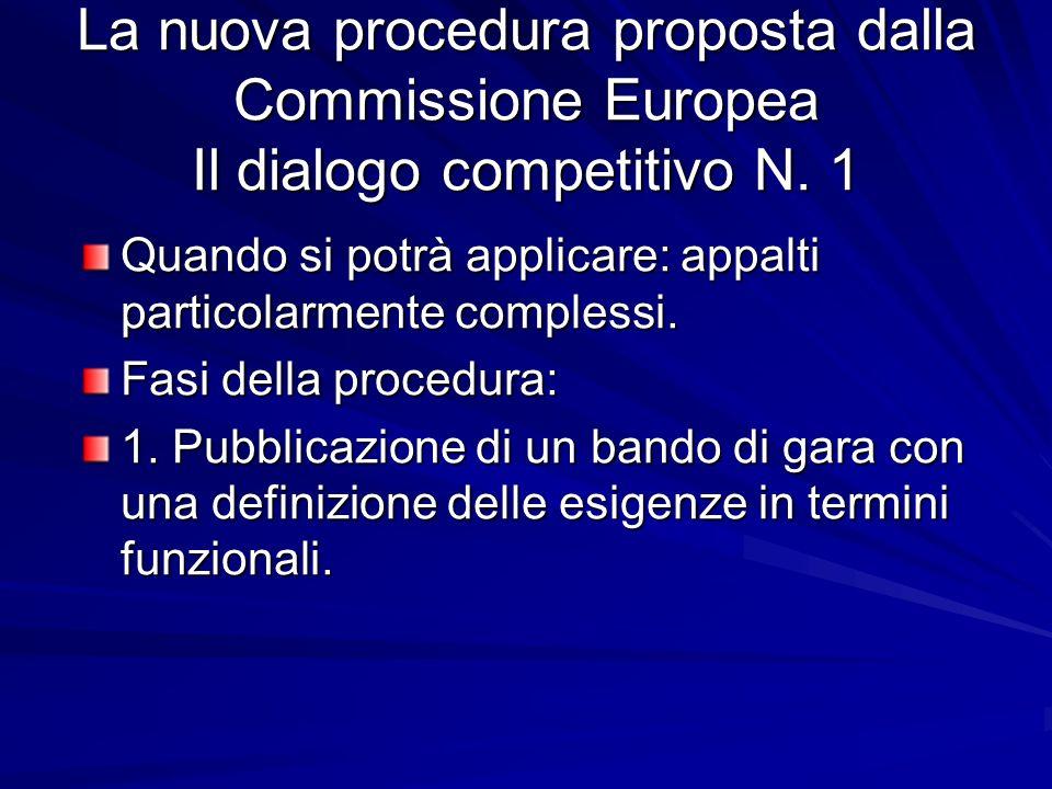 La nuova procedura proposta dalla Commissione Europea Il dialogo competitivo N. 1