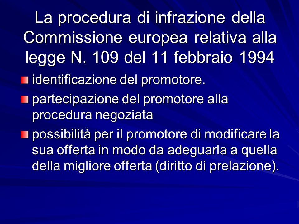 La procedura di infrazione della Commissione europea relativa alla legge N. 109 del 11 febbraio 1994