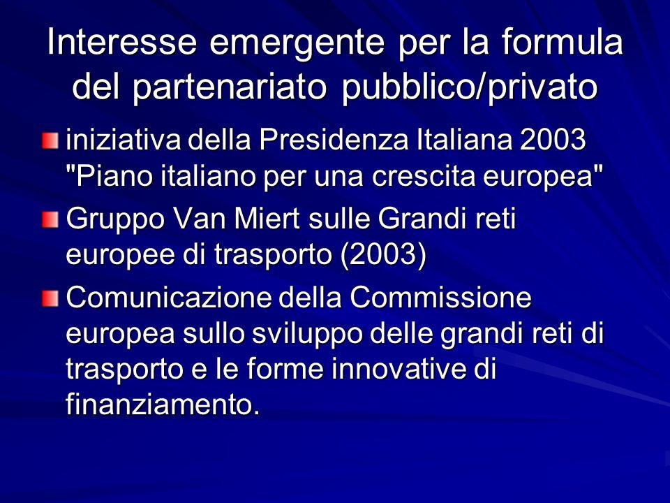 Interesse emergente per la formula del partenariato pubblico/privato