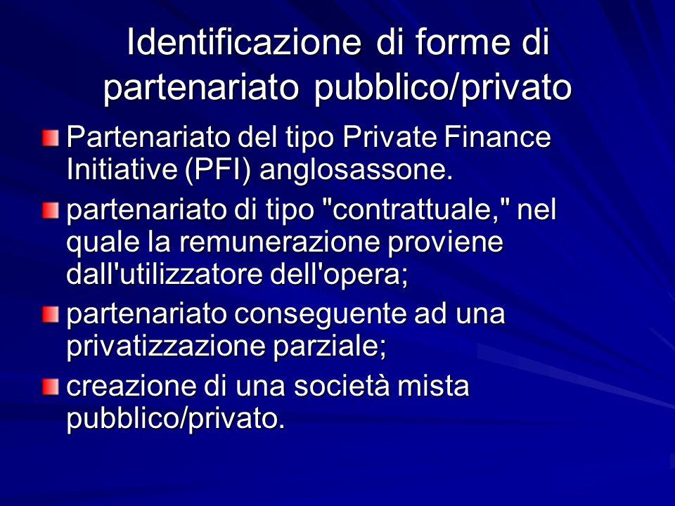 Identificazione di forme di partenariato pubblico/privato