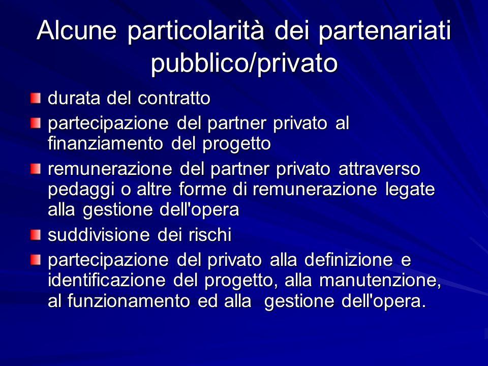 Alcune particolarità dei partenariati pubblico/privato