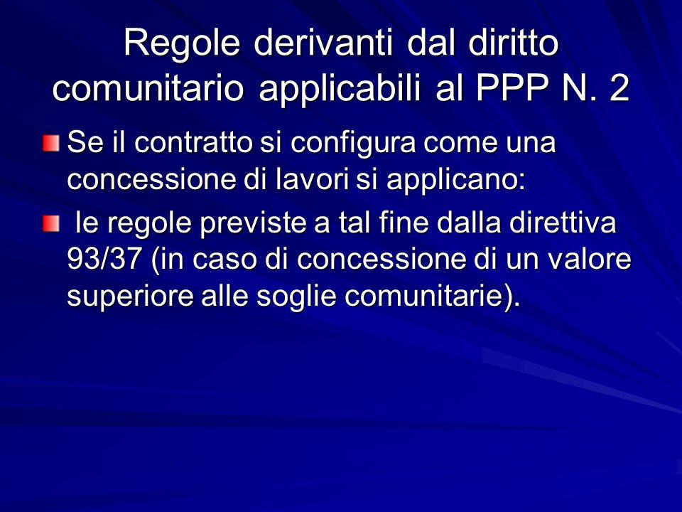 Regole derivanti dal diritto comunitario applicabili al PPP N. 2