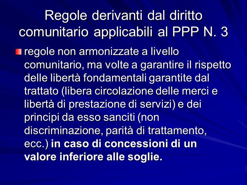 Regole derivanti dal diritto comunitario applicabili al PPP N. 3
