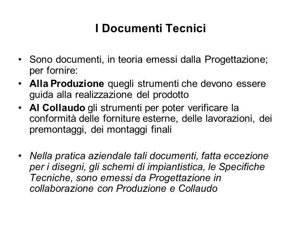 I Documenti Tecnici Sono documenti, in teoria emessi dalla Progettazione; per fornire: