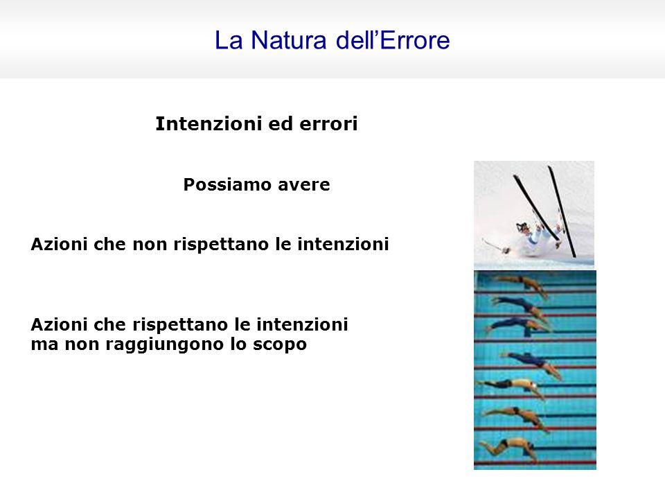 La Natura dell'Errore Intenzioni ed errori Possiamo avere