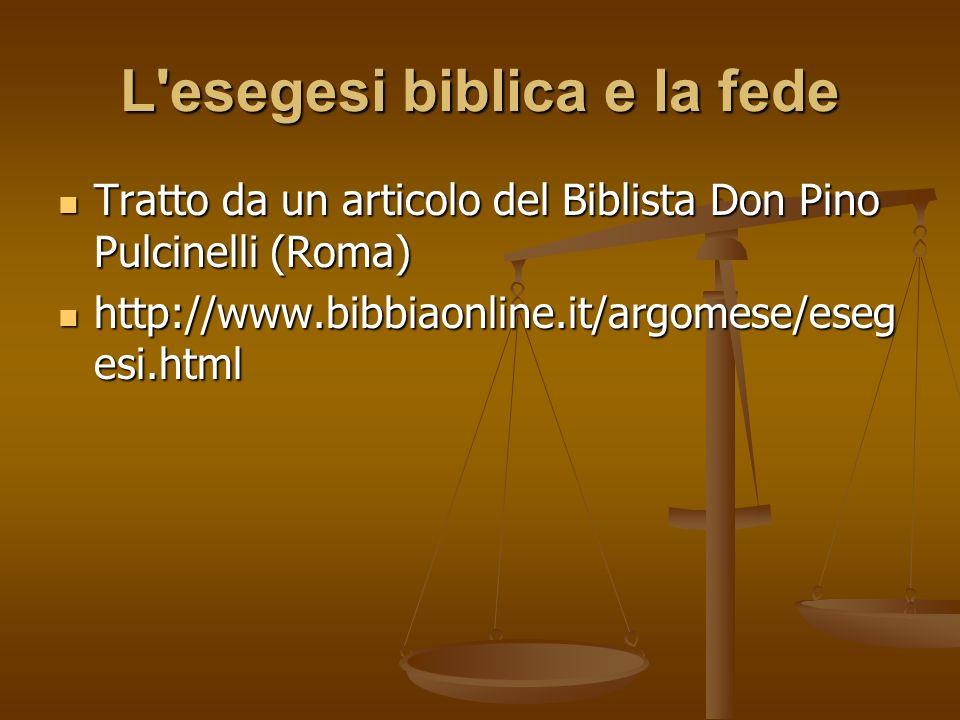 L esegesi biblica e la fede