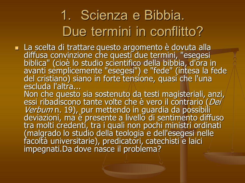 Scienza e Bibbia. Due termini in conflitto